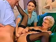 Glamour blond old lady in threesome