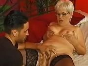 Plump grandma sucks and caressed by latin macho
