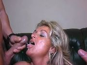 Plump granny gets crazy DP and cumload by guys