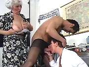 Two lustful grannies suck one cock