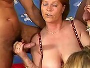 Matures get huge tits cummy in orgy