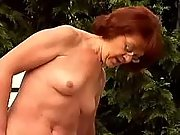 Dude fucking lustful granny outdoor