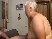 Old wrinkled fart slobbers big dick