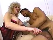 Old blond dirty whore serves client
