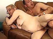 Dude fucking plump old lady on sofa
