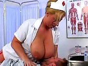 Busty nurse sucking patients cock