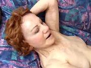 Guy drills skinny aged lady on sofa