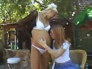 Redhead lezzie spoils blonde pregnant girl outdoor