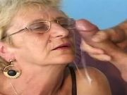 Lusty old lady gets crazy fuck and cum on face