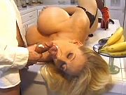 Mom with amazing huge tits fucked on kitchen table