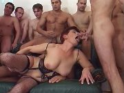 A few guys share mature in lingerie