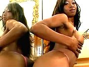 Ebony hottie is happy to get a messy mouthful