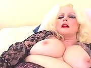 Plump lady with black toy