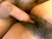 Yummy black cunt penetrated by huge rod