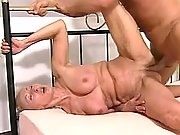Aged grandma enjoys cock and dildo