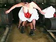 Fatty screwed in cellar