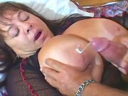 Mature plumper gets nice cumload on massive boobs