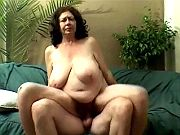 Chubby granny cockrides and then catches facial