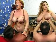 Old sluts get their huge tits cummy