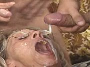 Numerous guys fill cum in horny old lady by turns