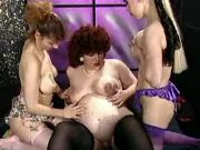 Chubby preggy gets milk on her pussy from lesbians