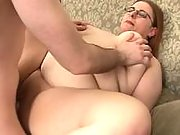 Shy redhead fatty gets jizz on face