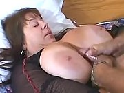 Mature gets huge flabby tits jizzed