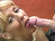 Blond sugar mama getting assfucked and jizzed