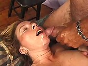 Lustful mature lady jizzed on face