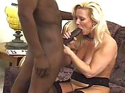 Blonde mature sucks huge black dick