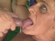 Senior lady fucks with coach in gym