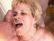 Lustful granny gets cum in mouth after fistfuck