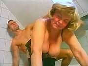 Grandma fucks n catches cum in bath