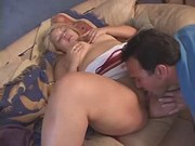Guy fingers and licks fatty on bed
