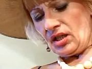 Pretty old lady in broad-brim licked by horny man