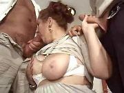 Granny with big boobs sucks hard cocks by turns