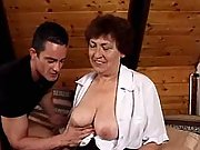 Breasty granny sucks and rides dude