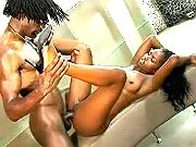 Funtastic ebony doll gets perly cum on brown belly