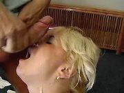 Blonde plumper gets cumload on face