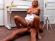 Experienced whore in white lingeire fucks on floor