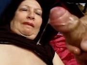 Big old woman gets cum in threesome