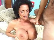 Lusty granny gets hard fuck and cum on huge boobs