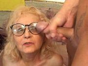 Lustful granny gets cum on glasses after hard fuck