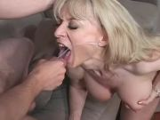Blonde beautiful mature gets lavish cum in mouth