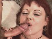 Cute milf sucks out cum after fuck