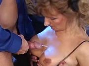 Mom gets cum on tits after anal sex