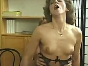 Lustful curly housewife seduces man