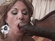 Mom sucks out sperm from black dick
