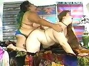 Fat strapon lesbians make sex