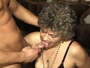Muscular guy fucks lusty granny and cums in mouth